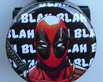 "Assorted Comic ""Deadpool"" Blah Blah Blah, Action Shot, Standing Stance,comic eyes badge reel"
