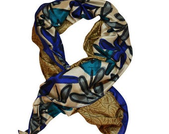 Beige Gold woman's wrap / Scarf with large blue flower design and royal blue trim - 'Wilia Blue'