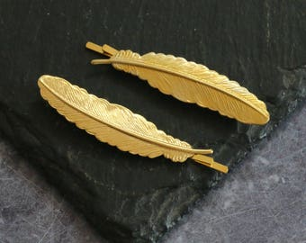Gold Feather Hair Grips
