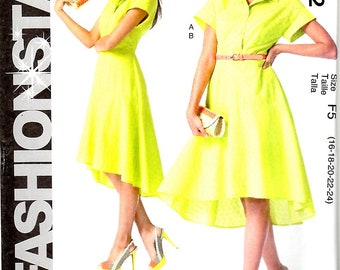 Misses Front Button Dress with Shaped Hemline and Slip, Sizes 16, 18, 20, 22, 24, McCalls M6742
