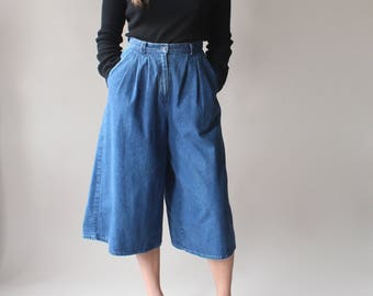 vintage denim culottes | high waisted culottes, size small