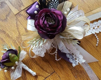 Deep purple Gatsby themed Purple and gold prom corsage set purple bling corsage set ready to ship