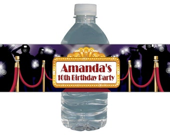 Hollywood Red Carpet Birthday Party Water Bottle Labels - *Waterproof + Peel and Stick * Baby Shower Bridal Shower