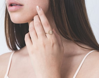 Meditation Ring, Spiritual Ring, Mandala Ring, Mandala Jewelry, Gold Plated Ring, Yoga Ring, Bohemian Ring, Fashion Ring, Ring For Women