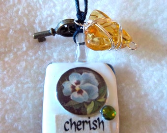 Cherish / Serenity Healing Art Necklace, No.7