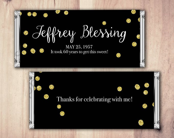 Custom candy label, wedding favor, candy favor, party favor, thank you, gift, wedding, party supplies, sticker, label, tag, confetti, gold