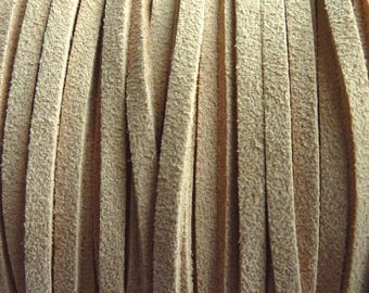 Set of 2 m clear 3 mm caramel suede cord