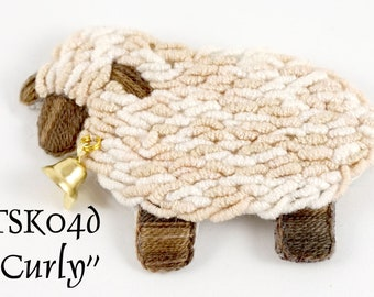 """TSKK04d - """"Curly"""" Sheep Hand-Embroidered Brooch/Ornament Kit and Pattern"""