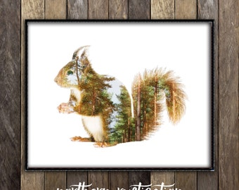 Red Squirrel Print - Woodland Animals Nursery Decor - Double Exposure Art - Forest Friends Rustic Nature Photography - Cabin Canadian Seller