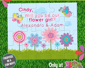 """Be My Flower Girl Puzzle - Personalized Flower Girl Announcement Puzzle - Personalized 8"""" x 10"""" Puzzle - Custom Flower Girl Proposal Puzzle"""