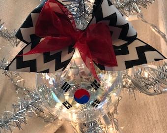 "Custom Hand decorated Taekwondo 4"" Glass Christmas Ornament"