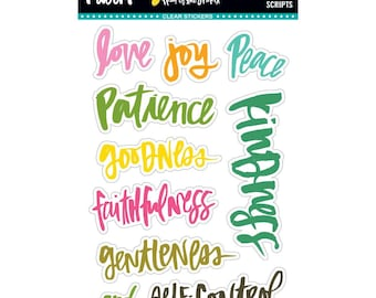 Illustrated Faith - Fruit of the Spirit - Scripts - 10-Piece Clear Stickers