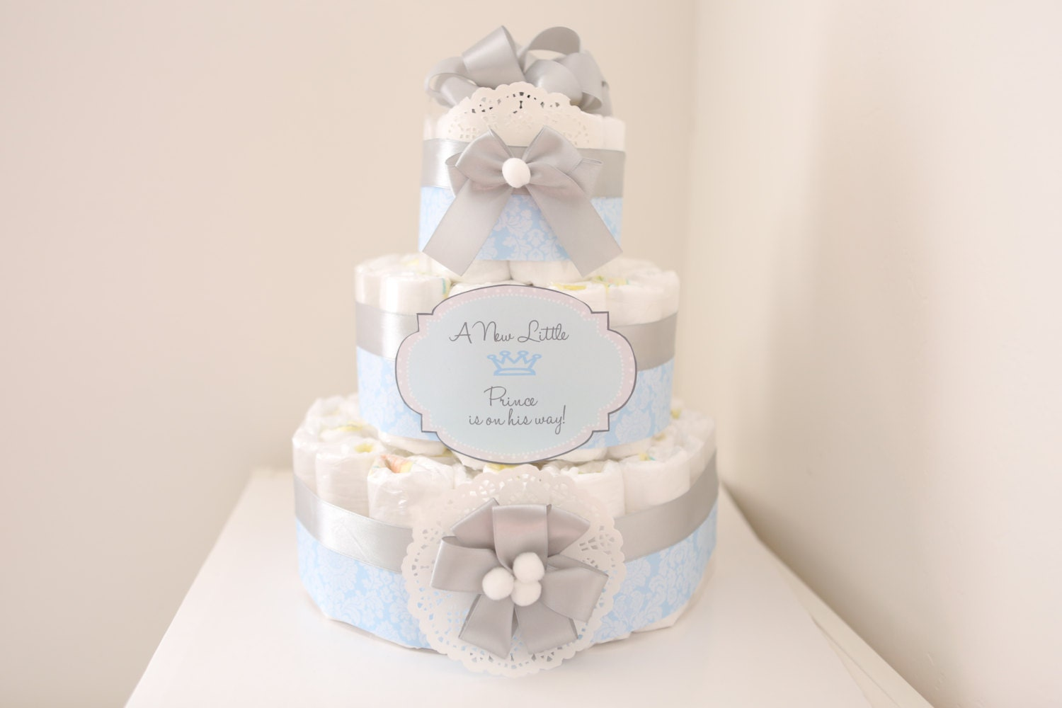 Baby Boy Damask Blue & silver Diaper Cake / Shower Centerpiece ...