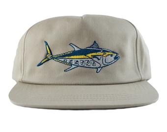 Bluefin Snapback Hat - Khaki - Unstructured - 5 Panel - poplin hat - fish slayer - tuna - wave - limited edition - by uroko