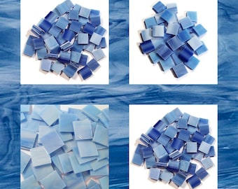 Cool Water Blue Squares Stained Glass Mosaic Tiles Opal Hand Cut Spectrum