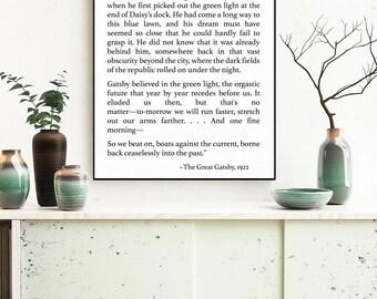 The Great Gatsby Art Print - F Scott Fitzgerald Art Print - Fitzgerald Quote - Book Page Art - Wall Art - Literature Print - Literary Gift