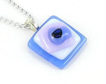 Blue White Lavender Pendant Handmade Fused Glass, Silver