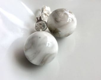 Glass Marble earrings with 925 sterling / clip on earrings