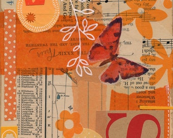 Orangina / ORIGINAL ART / mixed media collage / orange / vintage papers 6x6