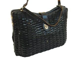 Black Woven Basket Bag