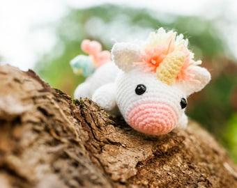 Lazy Rainbow Unicorn Amigurumi Plush Doll DIY Crochet Material Kit with pattern (full of magic!)