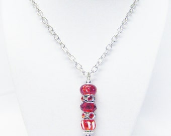 Red Lamp Work Big Hole Bead Pendant Necklace
