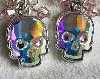 crystal skulls,  sugar skulls, Dia De Los Muertos, day of the dead dangle earring