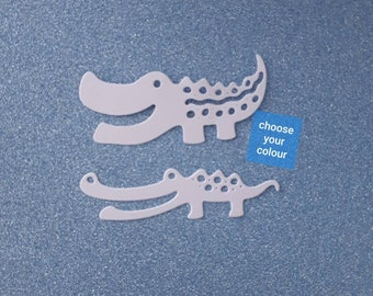 Set of 2 crocodile die cuts assorted colours flat cardstock cute animal die cuts jungle animal die cuts craft supplies embellishments  DC000