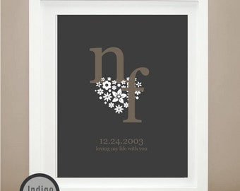 floral print Heart print romantic gifts floral heart Wedding Gift Personalized Wedding gifts Gift For him unique wedding gifts wall art