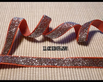 * ¤ 1 meter Ribbon metal effect * red and silver *-112mm wide ¤ * #CR3