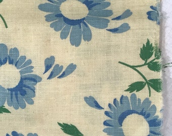 "33""Wx17.5""L Light Yellow Blue Sunflowers w/ Green Vintage Novelty Floral Feedsack Flour Sack Cotton Quilt Fabric"