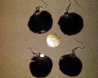 Black petals of rose geranium plant earrings