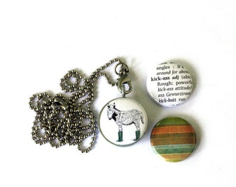 Kick Ass Locket Necklace, Burro, Donkey With Wellies, Boots, Magnetic, Interchangeable Locket by Polarity, 3 Necklaces in 1, Holds a Picture