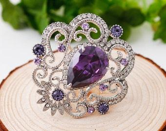 Brooch Rhinestone and Crystal Embellishment Purple Brooch Bouquet