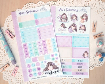 Personal Planner Decorative Sticker Kit, two pages ~Violet~ For your Diary, Journal, Scrapbook, Filofax, Kikki K, Kate Spade..