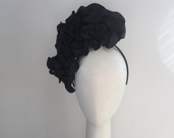 Black Fascinator , headband Fascinator , derby day, modern Fascinator , millinery, headpiece , races hat