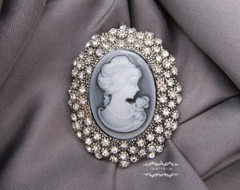 1-5 Pcs Grey Cameo Brooch Lot Rhinestone Silver Vintage Crystal Pin Antique Victorian Style Wholesale Wedding Bridal Bouquet Gift DIY BR525