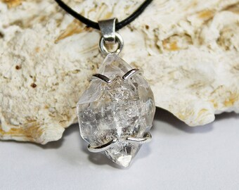 Beautiful Herkimer diamond set in 925 sterling silver pendant - rough crystal - Herkimer necklace