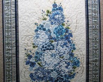 Floral Wall Hanging, Asian, table topper, Blues, Silver Metallic, handmade, quilted, fabric R Kaufman