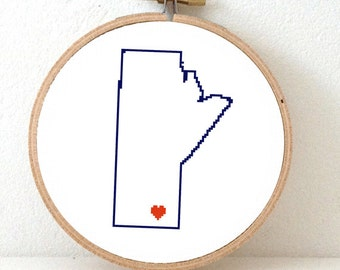 Manitoba Map Cross Stitch Pattern. Manitoba ornament pattern with Winnipeg. Canada wedding gift