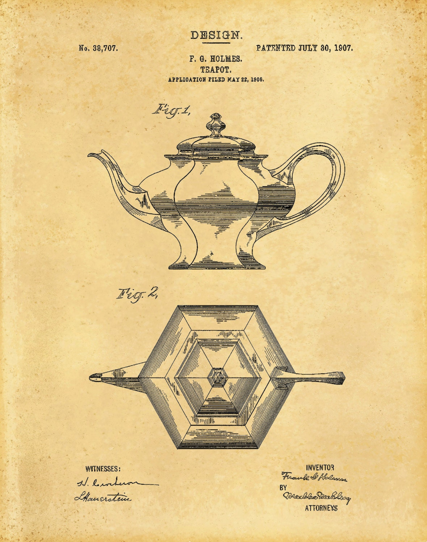 1907 Tea Pot Patent Print - Coffee Pot Patent Print - Kitchen Decor ...