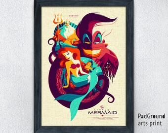 Disney Ariel Print, Little Mermaid Print, Ursula Print, Watercolor Print, Home Decor, Valentines Day, Girl Gift, Burlap Print, Frame -05pg