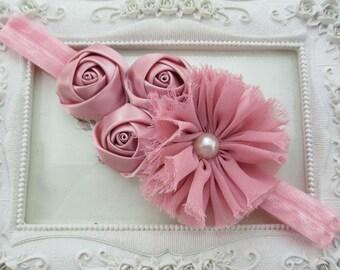 Dusty Pink Headband, Vintage Pink Headband, Girls Headband, Mauve Headband, Infants Pink Headbands, Photo Prop Headband, Dusty Pink Headband