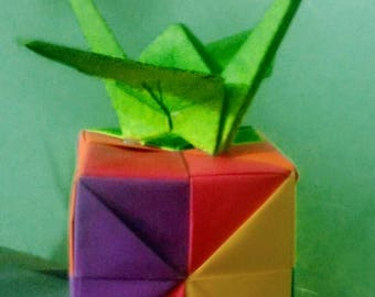 Extra Large Origami Crane on Top of a Multi-Color Origami Box/Cube