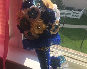 """Paper Flower Blue and Cream Wedding Bouquet and Matching Boutonnière - About 12"""" tall"""