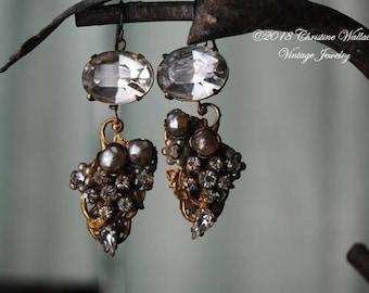 Glitz And Glamour--Vintage Haskell Era Rhinestone Faux Pearl Brass Filigree Grape Cluster EARRINGS