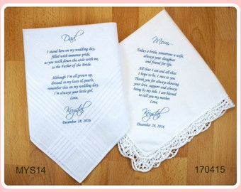 Mother of the Bride-Father of the Bride-Wedding Handkerchief-PRINTED Lace hankerchief-Set of 2 CUSTOMIZED-Wedding hankies-Wedding Gifts