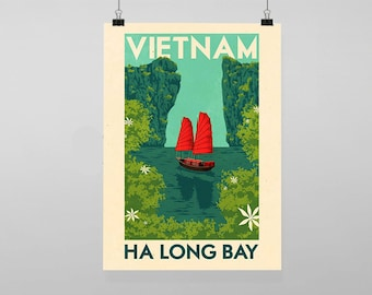 Vietnam Ha Long Bay Travel - Vintage Reproduction Wall Art Decro Decor Poster Print Any size