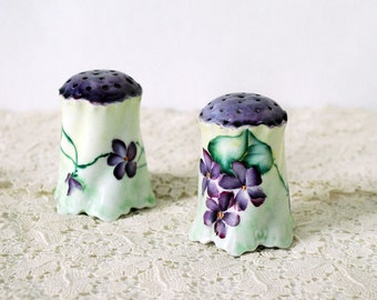 Victorian Hatpin Holders, Antique Ceramics, Cottage Chic Decor, Purple Violets Flowers Green, Porcelain Vanity Accessories, Millinery