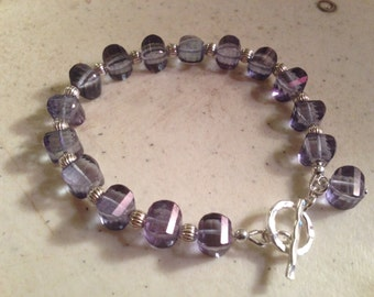 Blue Bracelet - Sterling Silver Jewelry - Mystic Blue Quartz Gemstone Jewellery - Fashion Luxe - Chic - Beaded